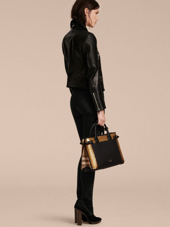 The Medium Banner in Sequins, Leather and House Check in Black - Women | Burberry - cell image 3