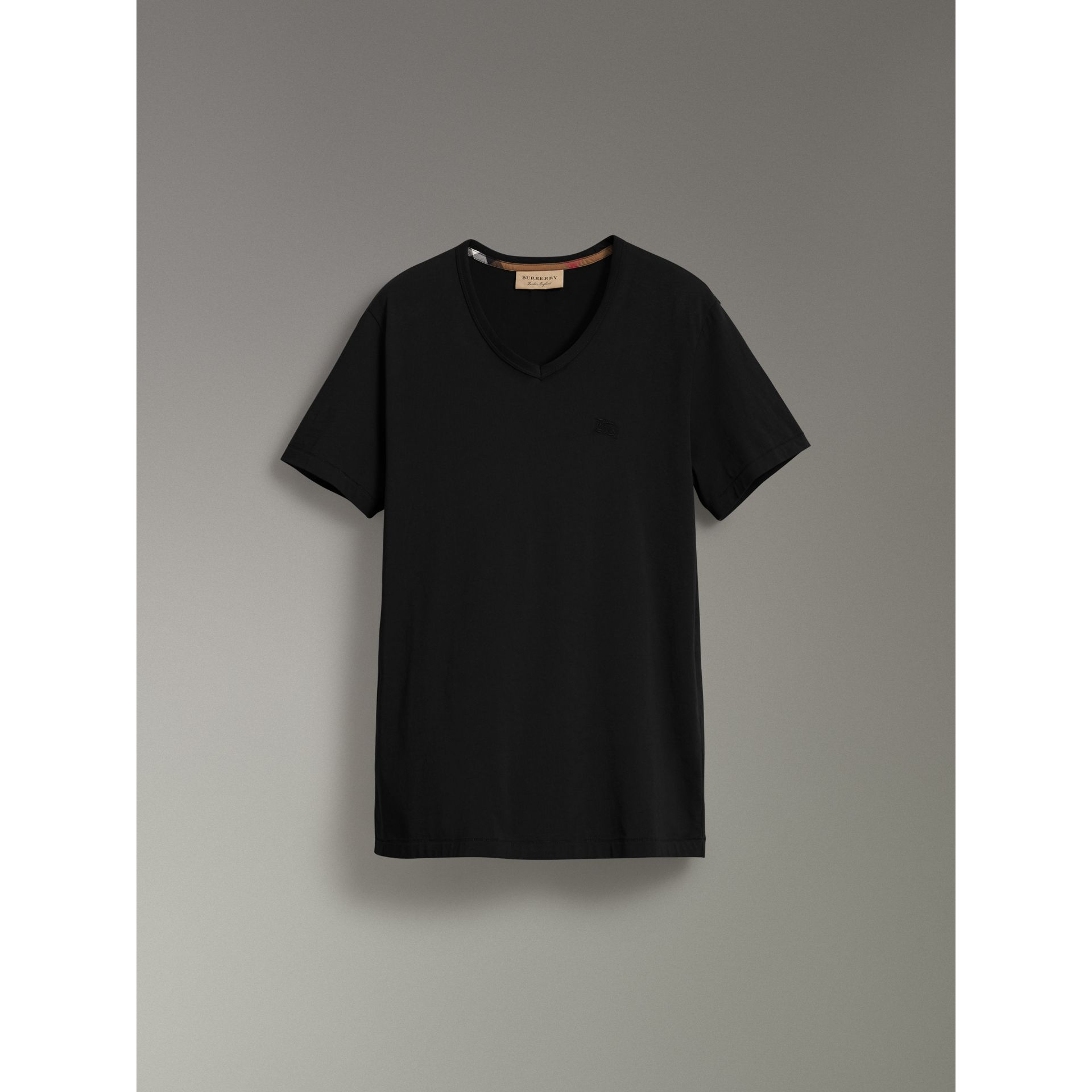 Cotton Jersey T-shirt in Black - Men | Burberry Australia - gallery image 3