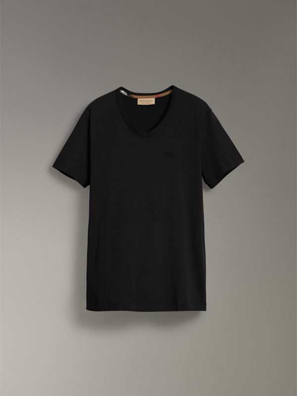 Cotton Jersey T-shirt in Black - Men | Burberry Australia - cell image 3