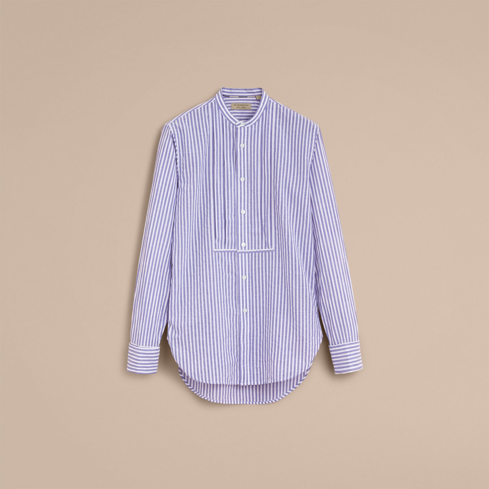 Unisex Grandad Collar Pleated Bib Striped Cotton Shirt in Pale Blue/white - Women | Burberry - gallery image 3