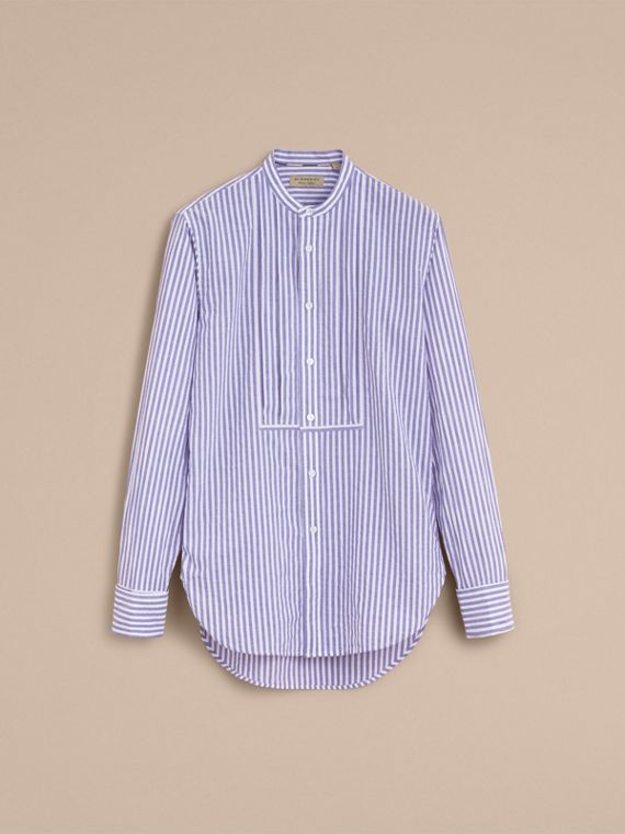 Unisex Grandad Collar Pleated Bib Striped Cotton Shirt in Pale Blue/white - Women | Burberry - cell image 3