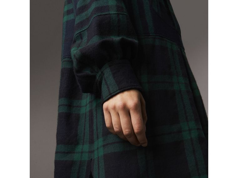 Check Wool Tunic Dress in Navy - Women | Burberry Australia - cell image 1