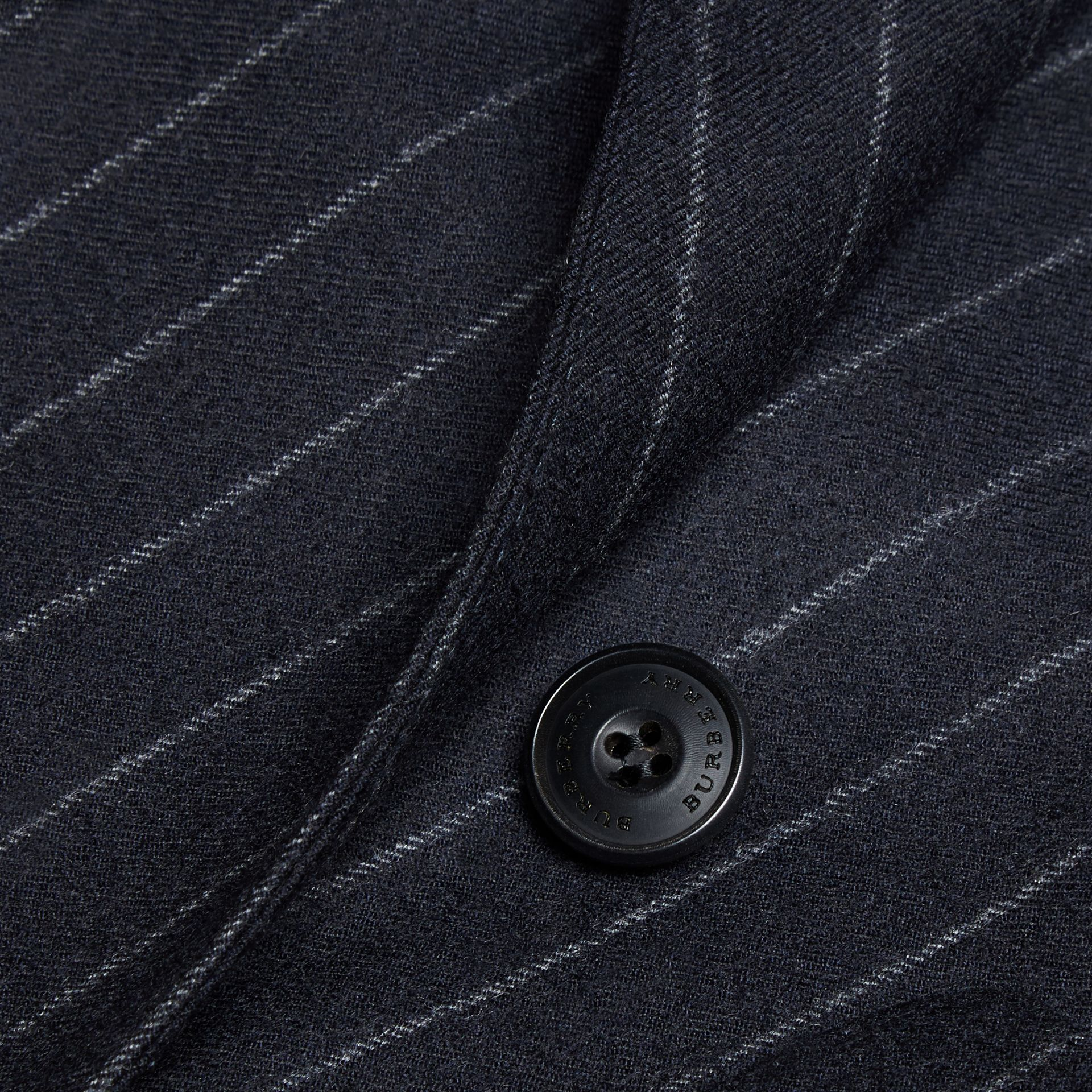 Navy Slim Fit Double-breasted Pinstripe Wool Suit - gallery image 2