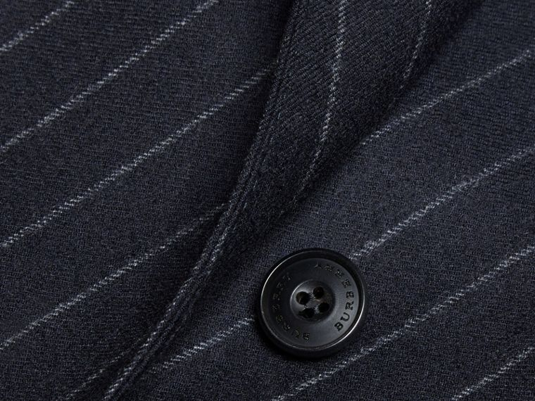 Navy Slim Fit Double-breasted Pinstripe Wool Suit - cell image 1