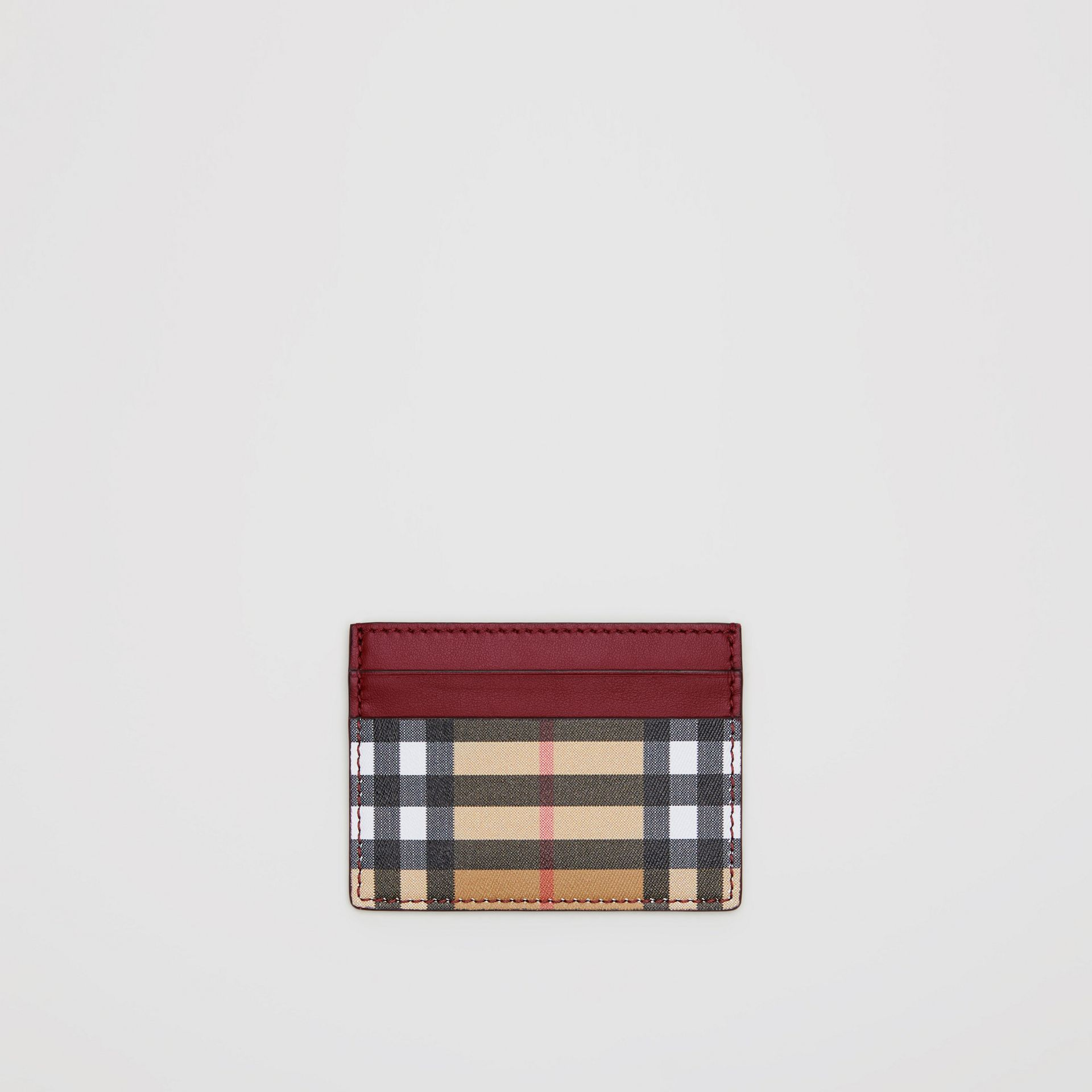 Vintage Check and Leather Card Case in Crimson - Women | Burberry Singapore - gallery image 0