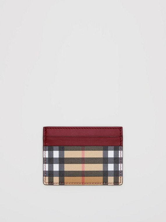 Vintage Check and Leather Card Case in Crimson