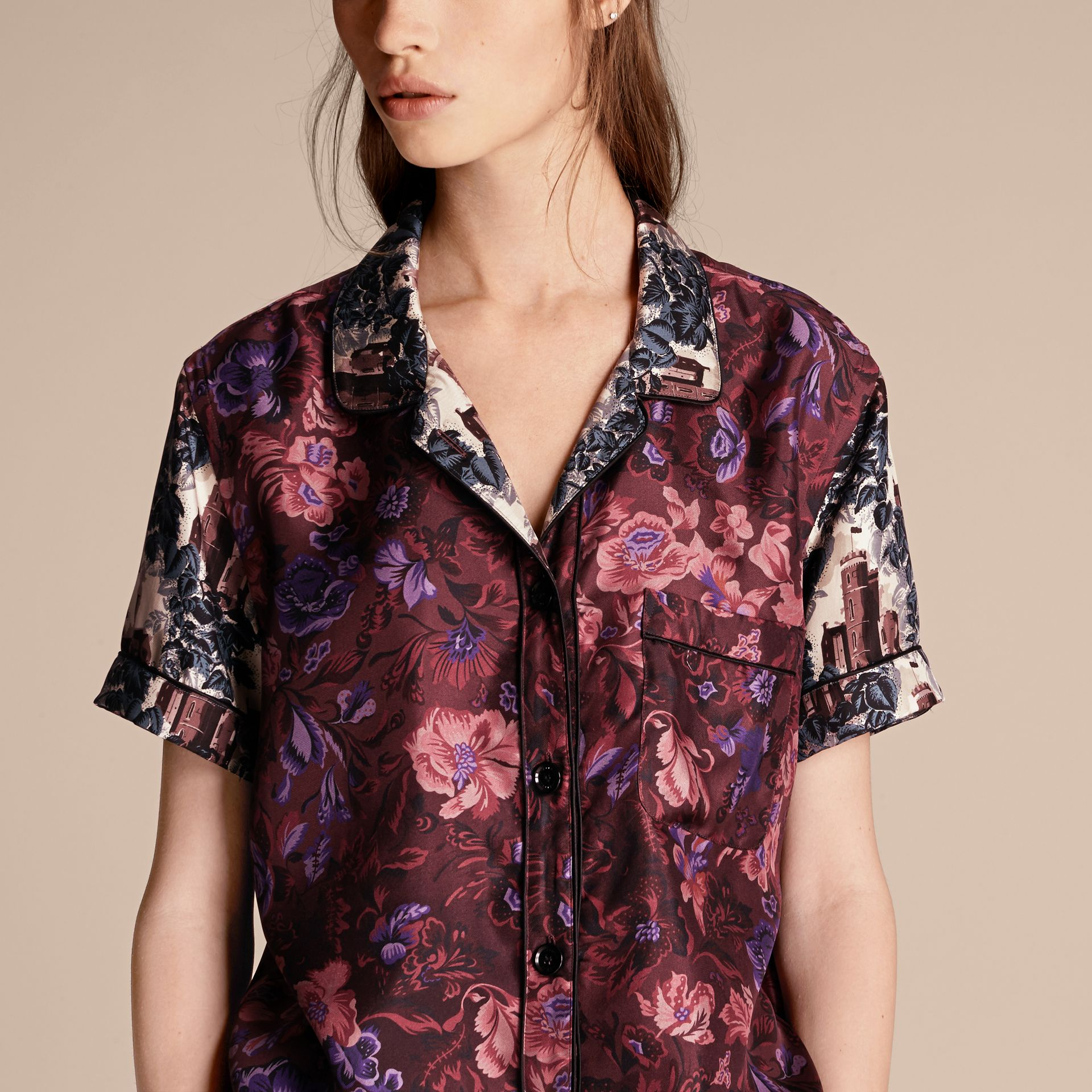 Carmine red Short-sleeved Floral Print Silk Pyjama-style Shirt - gallery image 5