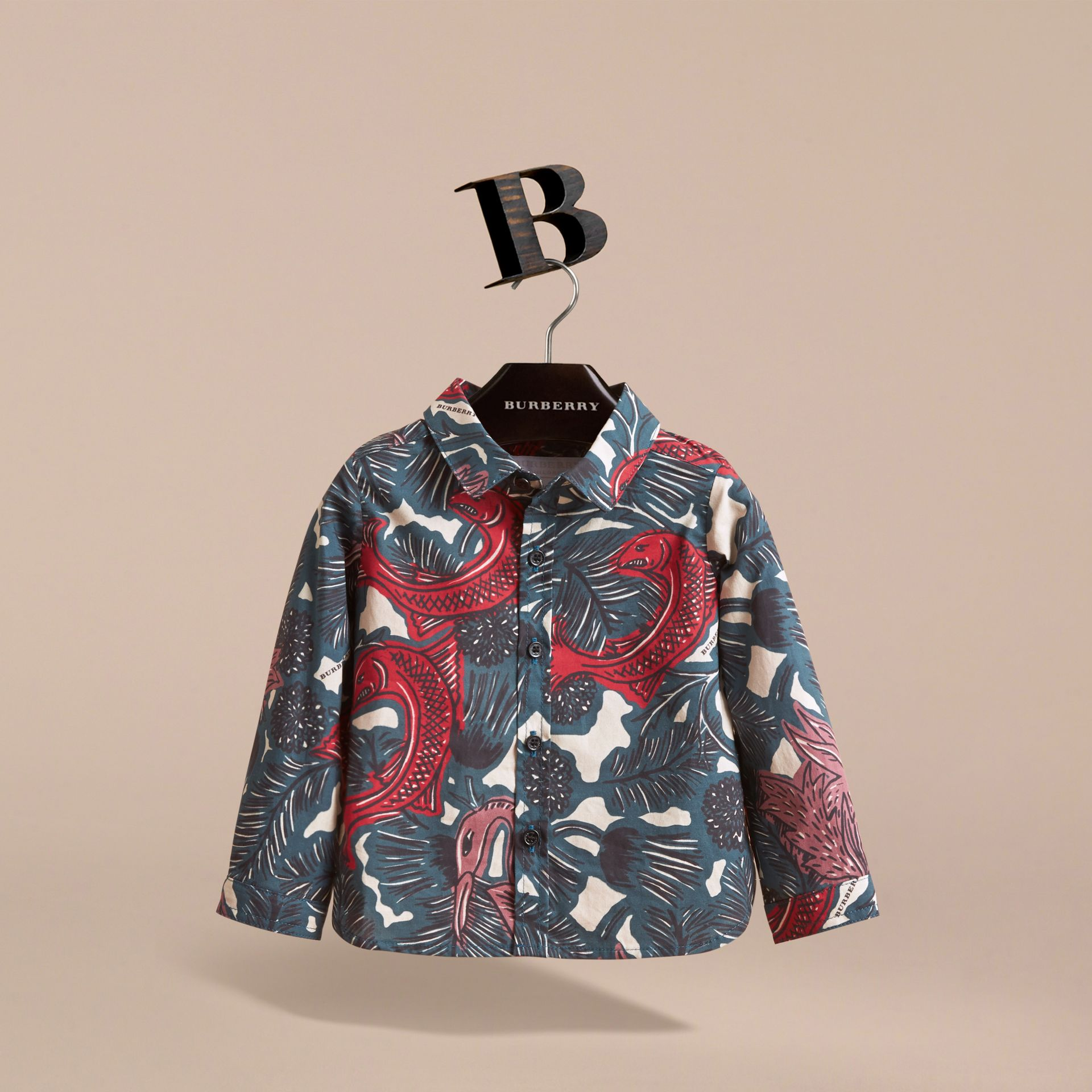 Beasts Print Cotton Shirt in Mineral Blue | Burberry - gallery image 3