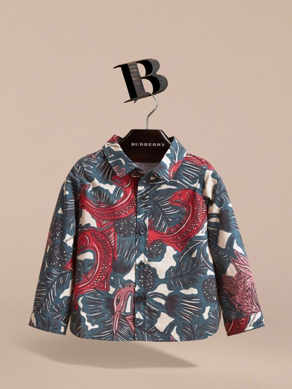 Beasts Print Cotton Shirt in Mineral Blue | Burberry - cell image 2