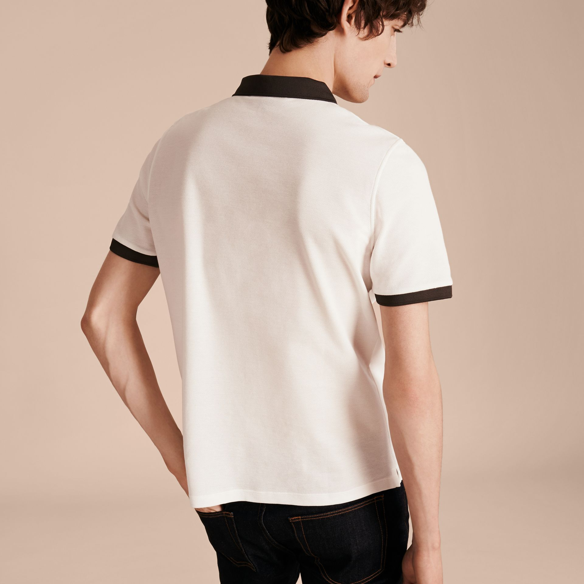 White/charcoal Mercerised Cotton Piqué Polo Shirt White/charcoal - gallery image 3