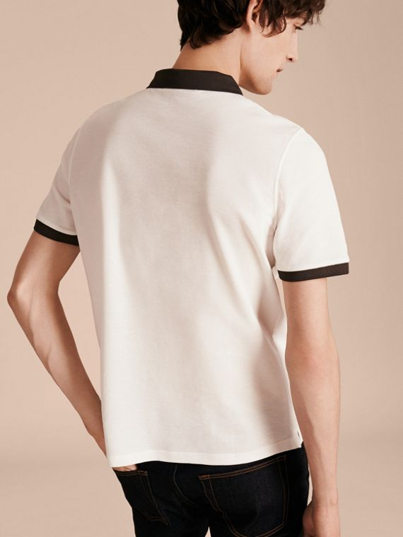 White/charcoal Mercerised Cotton Piqué Polo Shirt White/charcoal - cell image 2