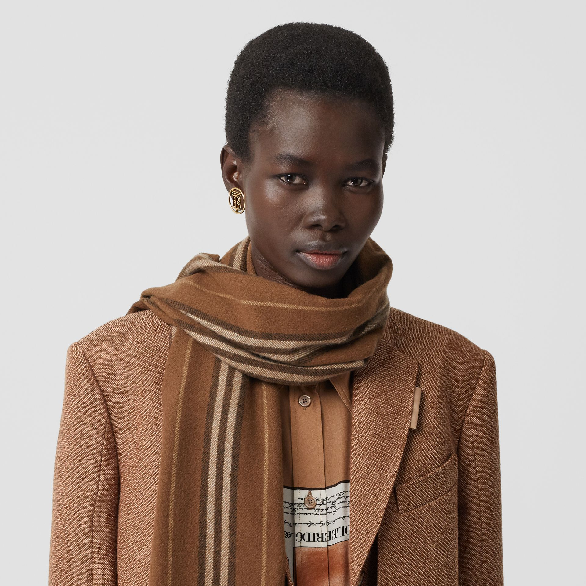 Icon Stripe Cashmere Scarf in Dark Chestnut Brown | Burberry - gallery image 2