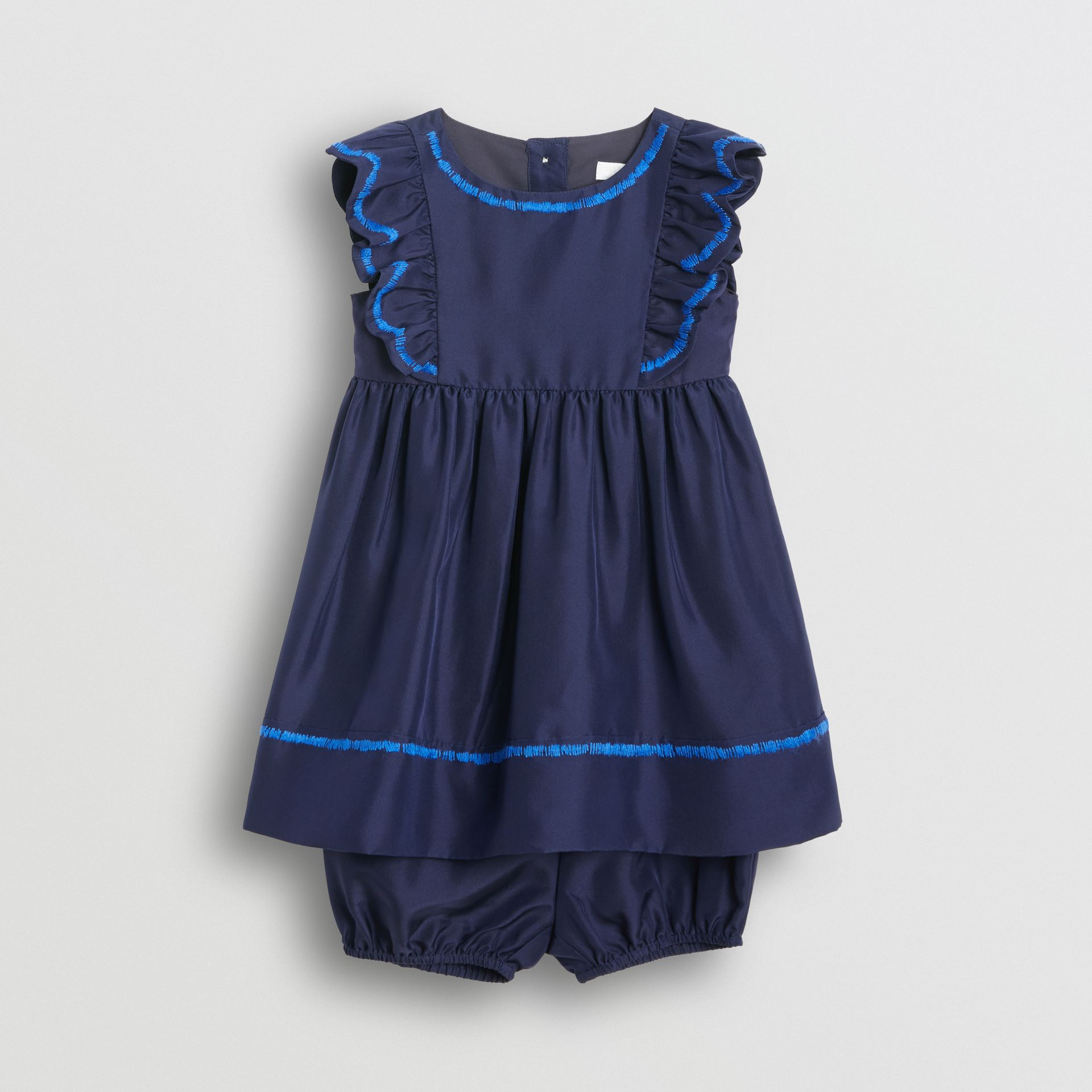 Ruffle Detail Embroidered Silk Dress with Bloomers in Navy - Children | Burberry United Kingdom - gallery image 0