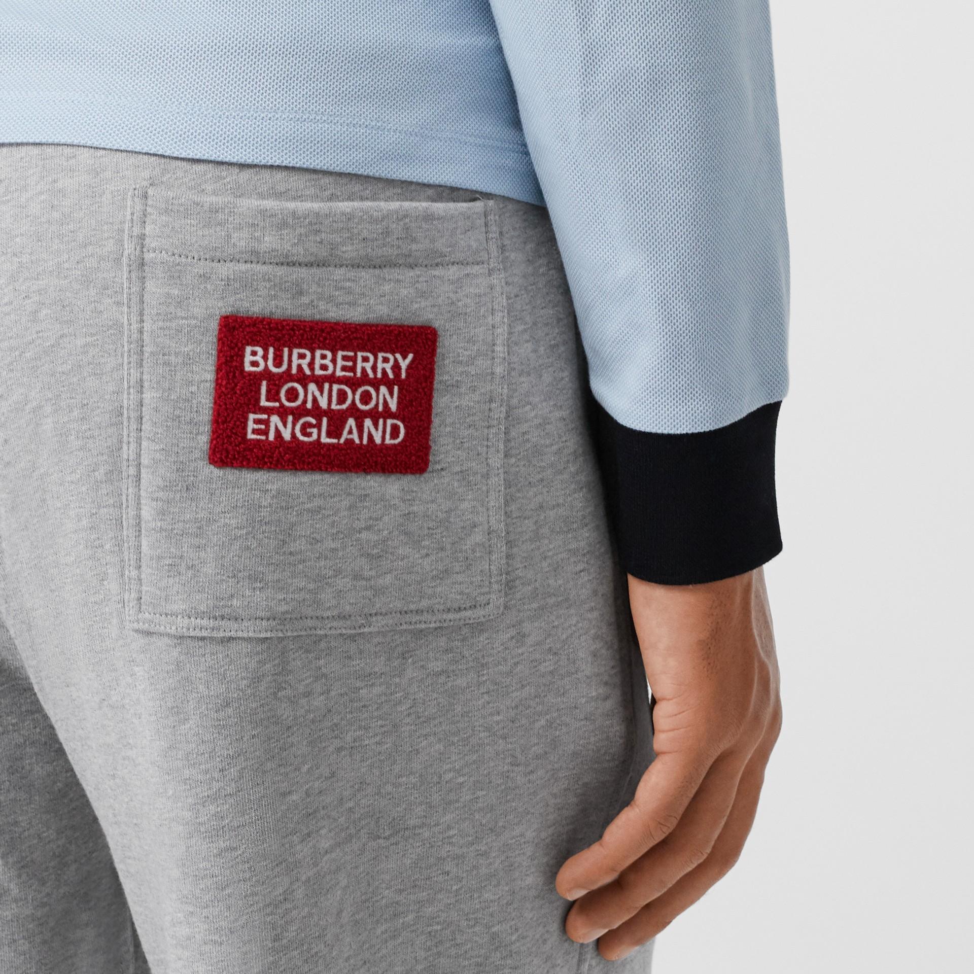 Logo Appliqué Cotton Trackpants in Pale Grey Melange - Men | Burberry - gallery image 1