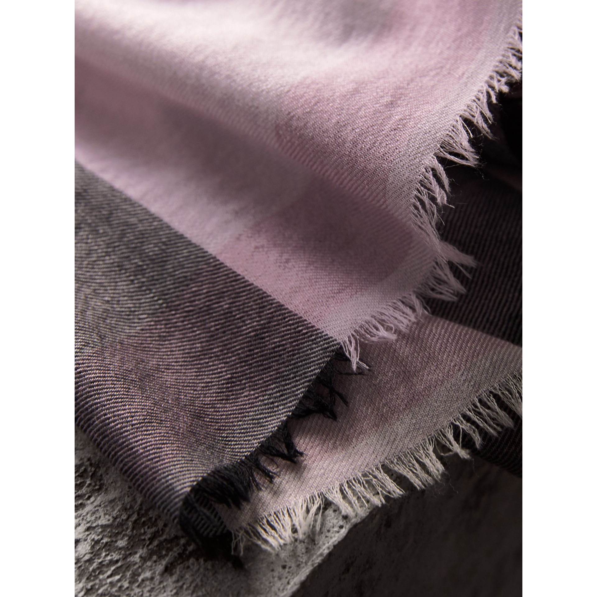 The Lightweight Check Cashmere Scarf in Dusty Lilac | Burberry Canada - gallery image 4
