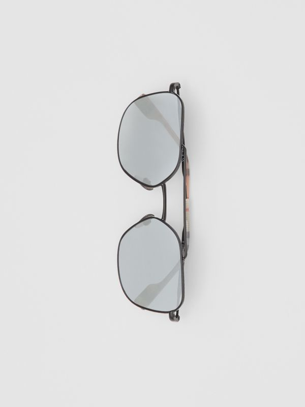 Top Bar Detail Square Pilot Sunglasses in Matt Black - Men | Burberry - cell image 2