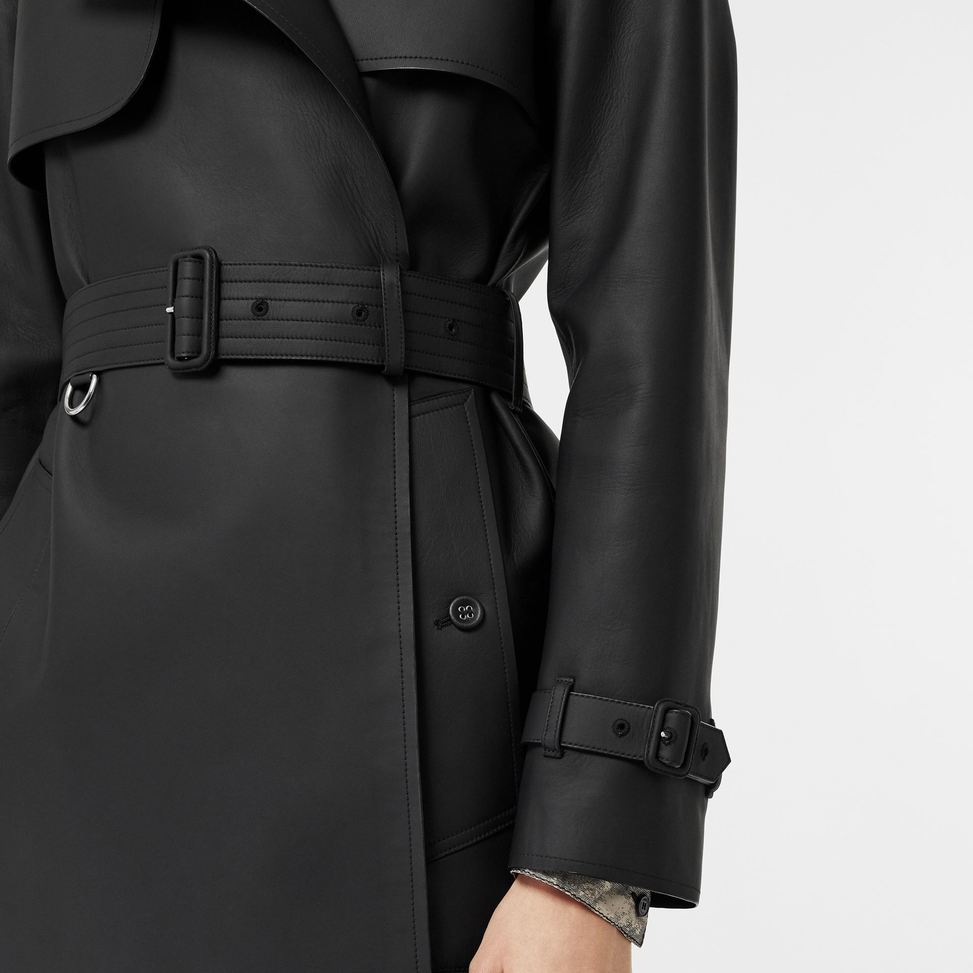 Lambskin Wrap Trench Coat in Black - Women | Burberry United Kingdom - gallery image 4