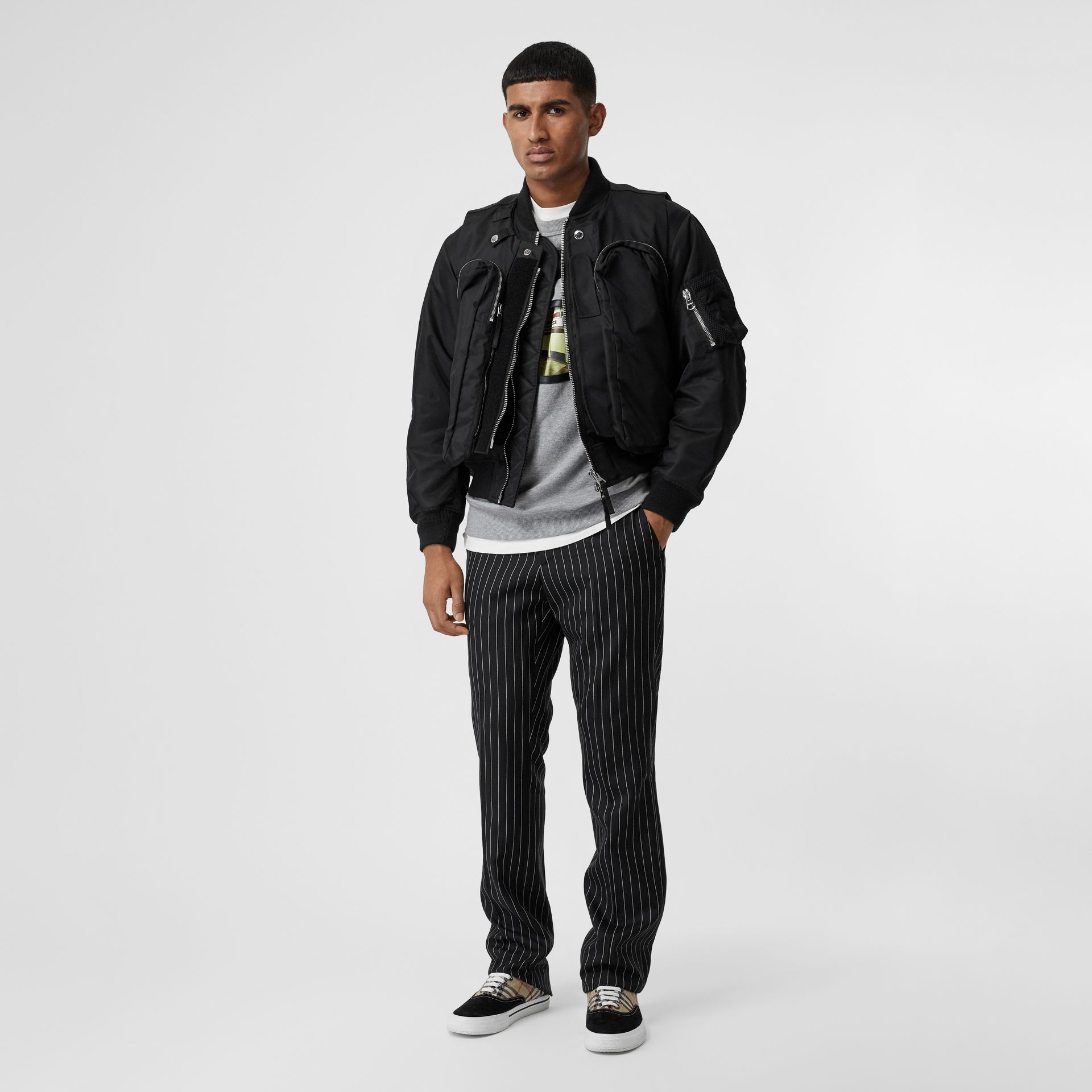 Nylon Twill Bomber Jacket with Detachable Gilet in Black - Men | Burberry United States - gallery image 0