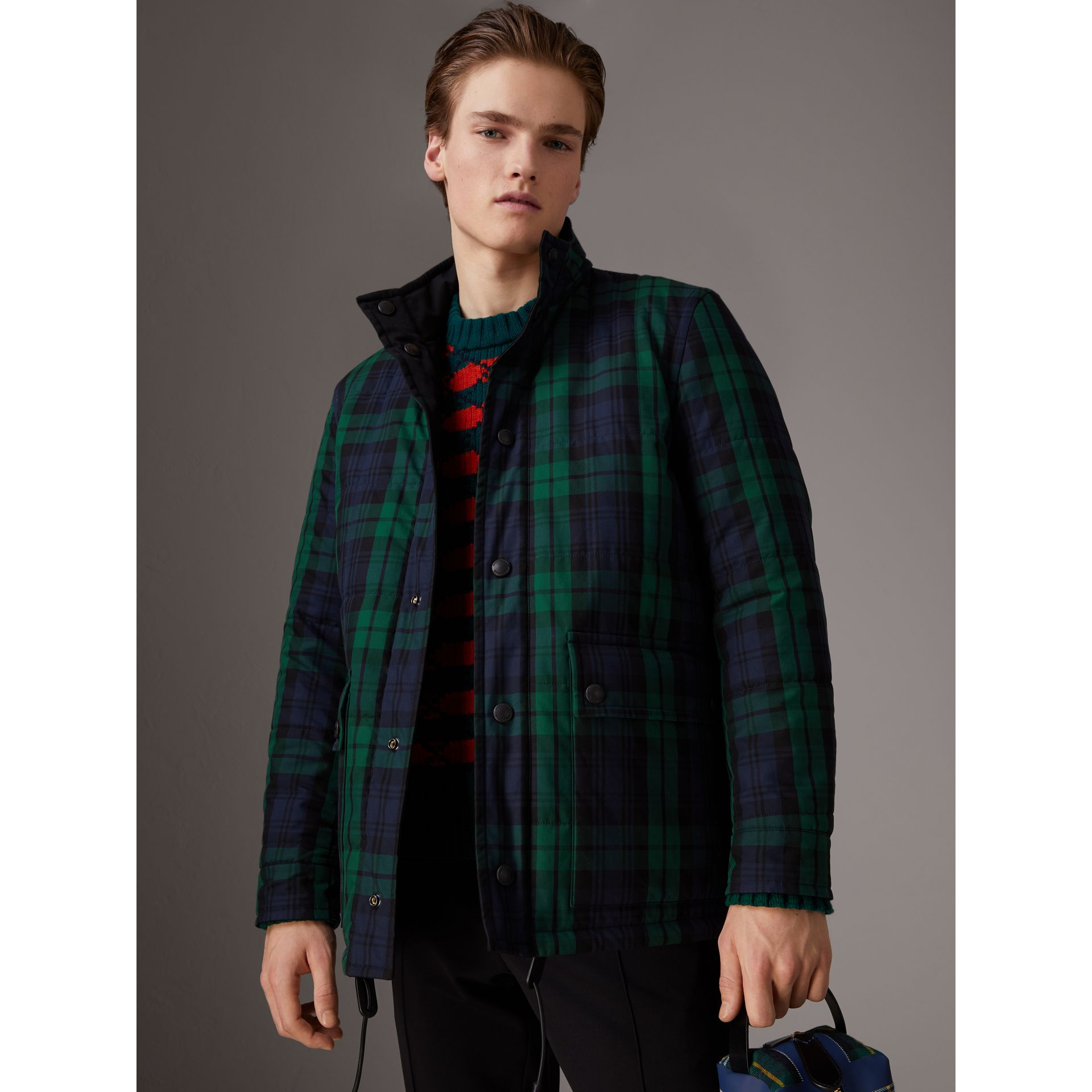 Reversible Quilted Tartan Cotton Jacket in Bright Navy - Men | Burberry - gallery image 5