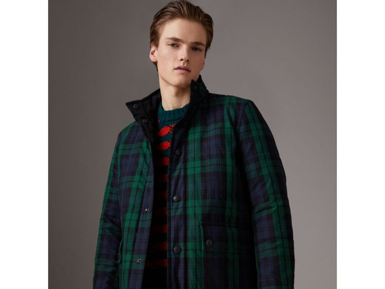 Reversible Quilted Tartan Cotton Jacket in Bright Navy - Men | Burberry - cell image 4