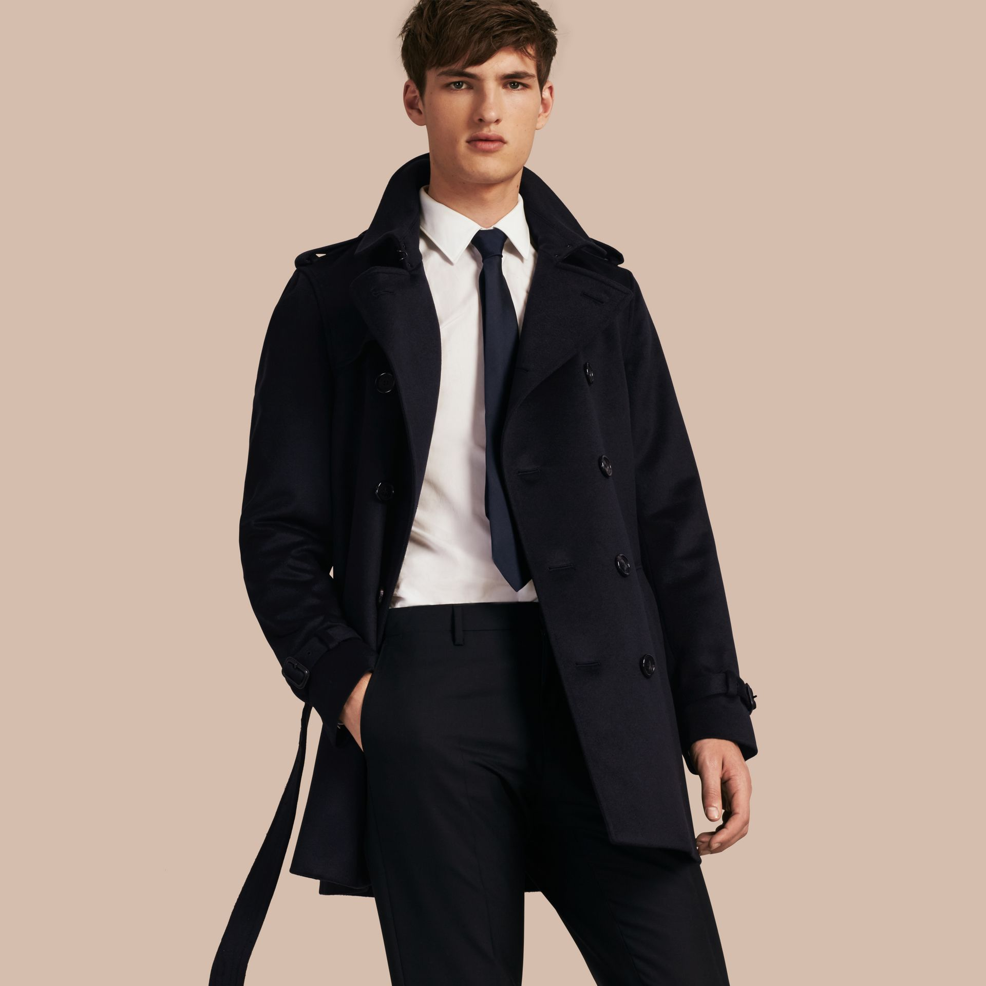 Navy Cashmere Trench Coat - gallery image 1
