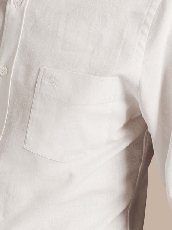 White Button-down Collar Cotton Linen Shirt White - cell image 3