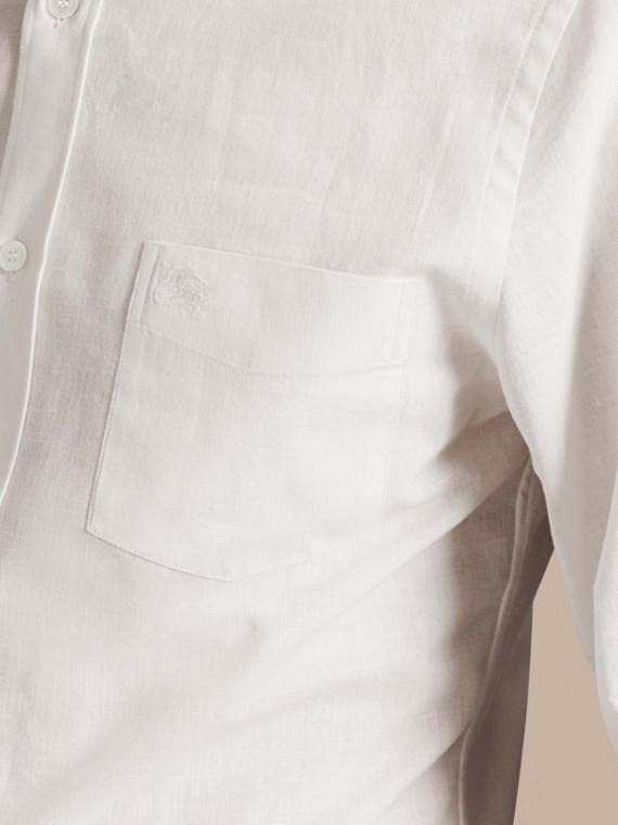 Weiss Hemd aus Baumwolle und Leinen mit Button-down-Kragen Weiss - cell image 3