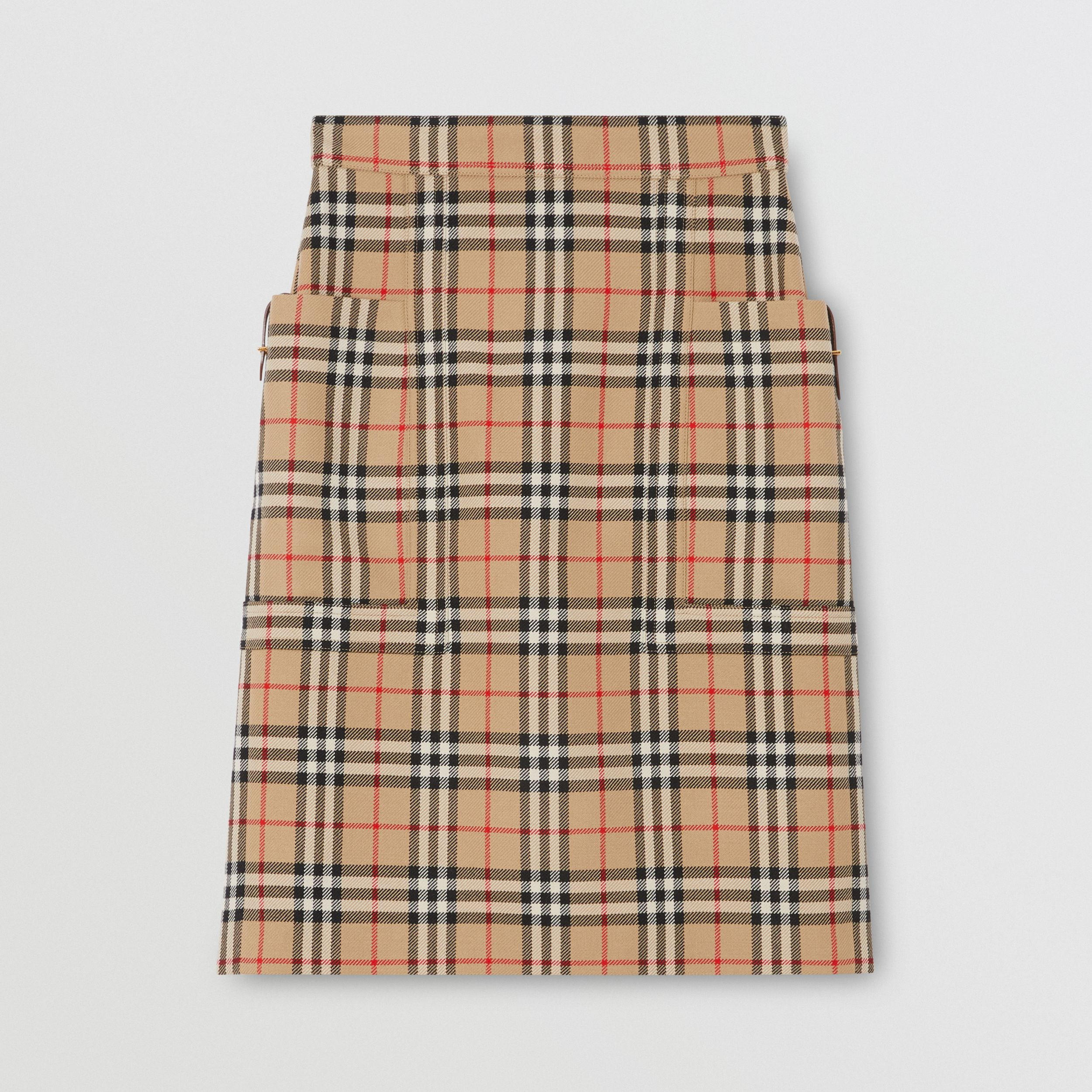 Pocket Detail Vintage Check Wool Pencil Skirt in Archive Beige - Women | Burberry United States - 4