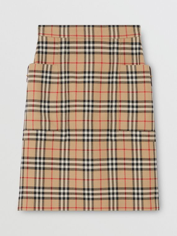 Pocket Detail Vintage Check Wool Pencil Skirt in Archive Beige