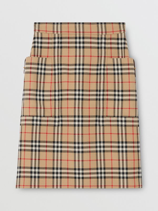 Pocket Detail Vintage Check Wool Pencil Skirt in Archive Beige - Women | Burberry - cell image 3