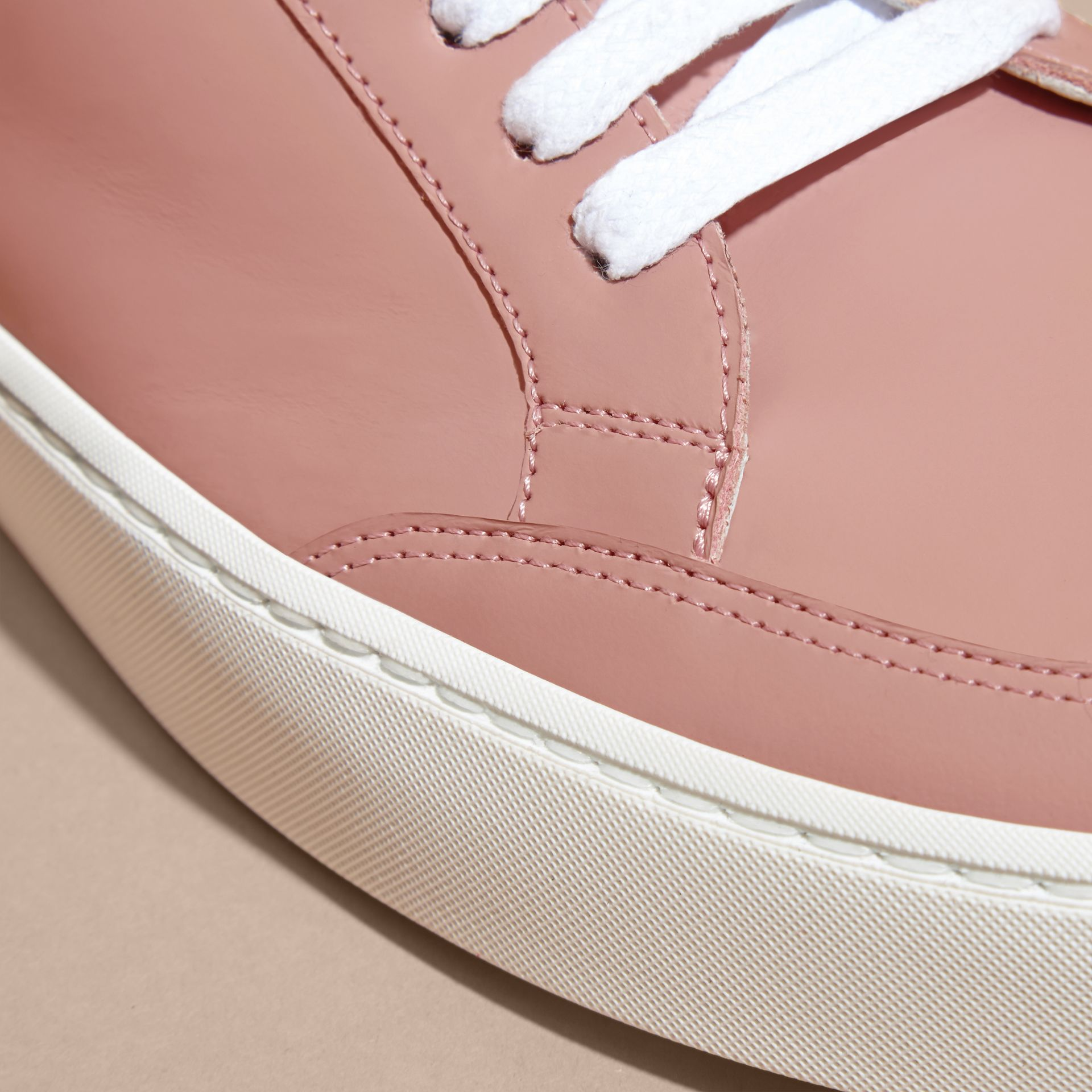 Metallic Detail Leather Trainers Rose Pink - gallery image 2