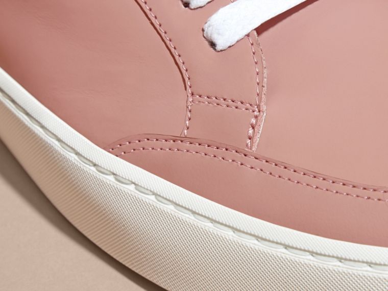 Metallic Detail Leather Trainers Rose Pink - cell image 1