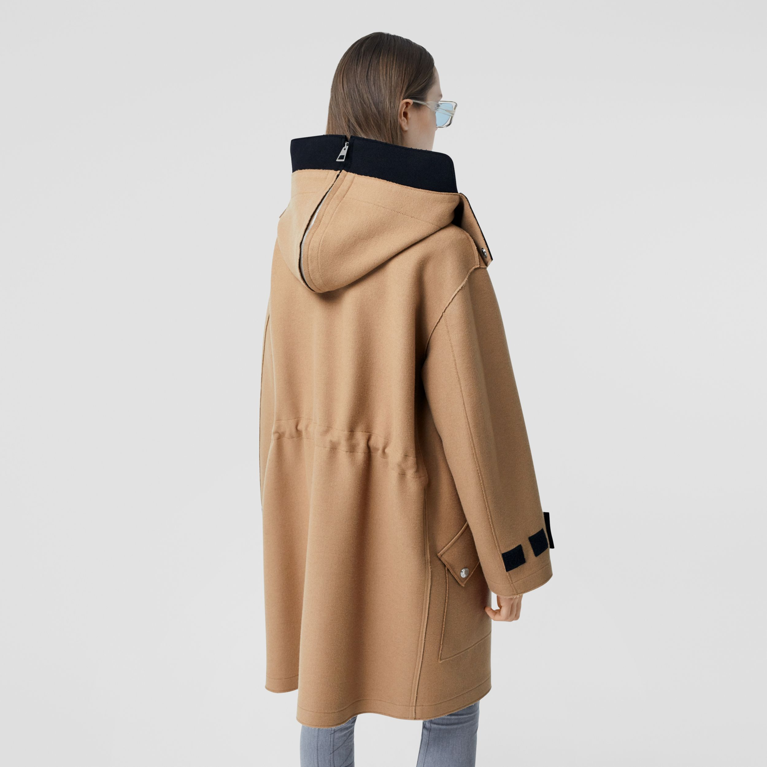 Logo Appliqué Technical Wool Hooded Parka - Women | Burberry - 3