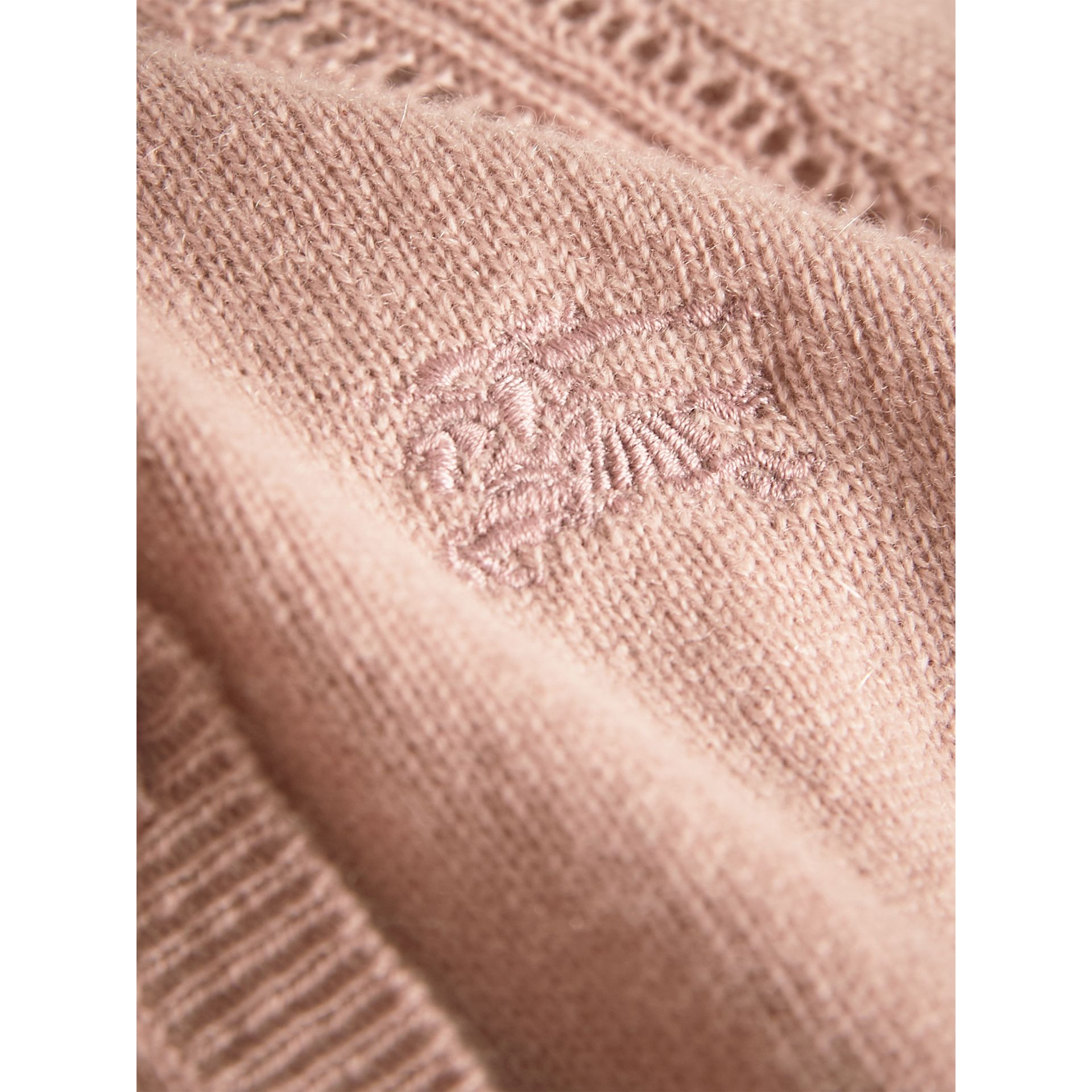 Check Detail Cashmere Cardigan in Dusty Pink - Girl | Burberry - gallery image 1