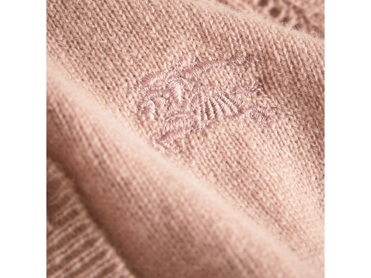Check Detail Cashmere Cardigan in Dusty Pink - Girl | Burberry United Kingdom - cell image 1