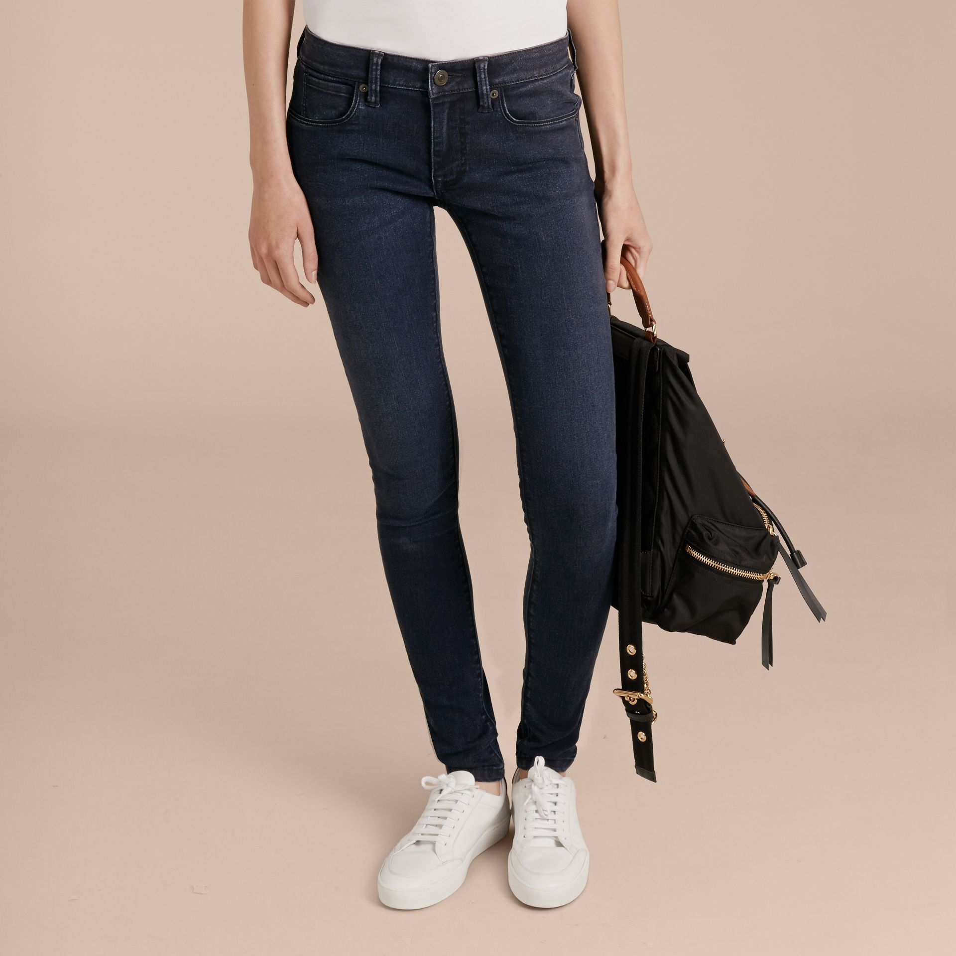 Skinny Fit Power-Stretch Jeans in Dark Indigo - Women | Burberry - gallery image 7