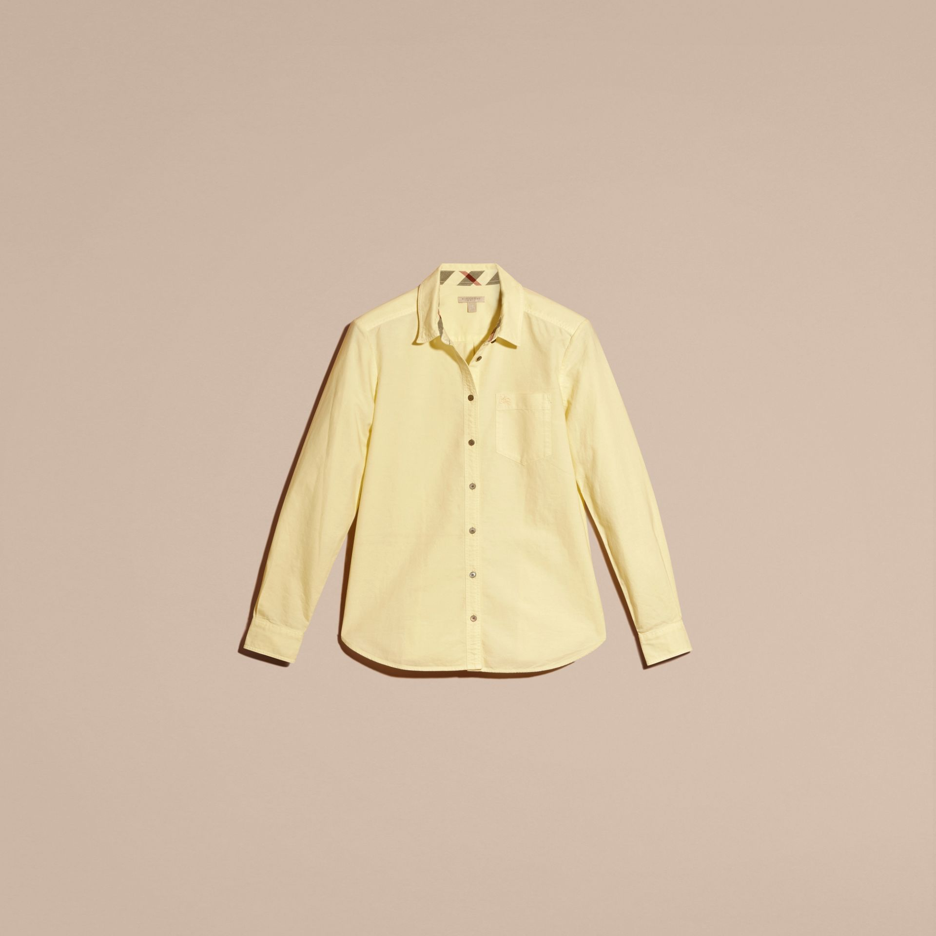 Pale yellow Check Detail Cotton Shirt Pale Yellow - gallery image 3