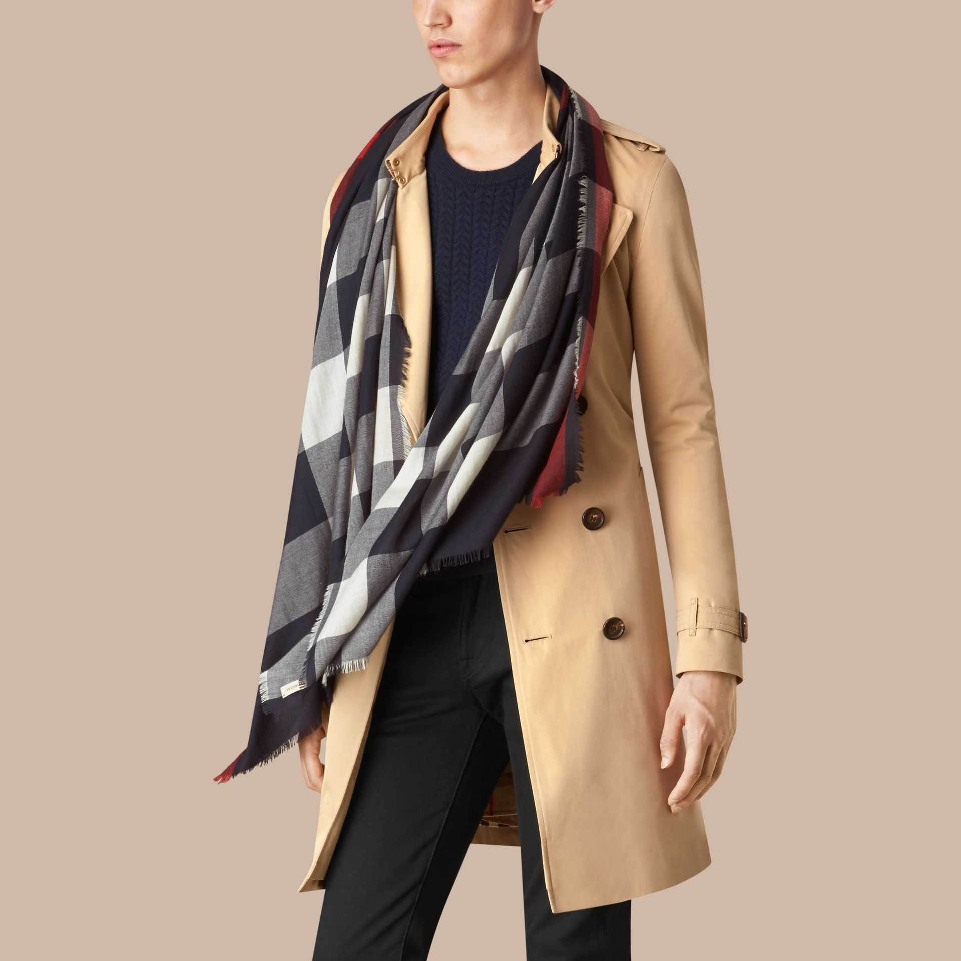 Navy The Lightweight Cashmere Scarf in Check Navy - gallery image 3