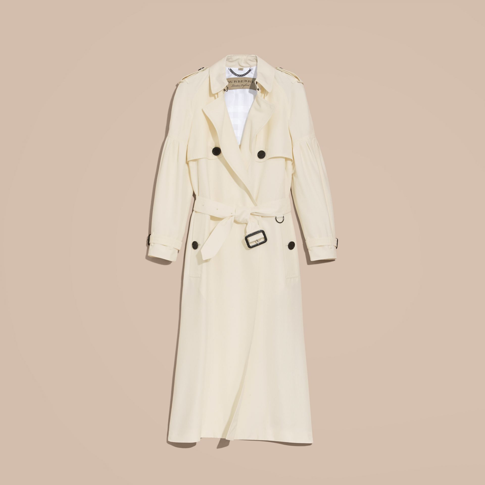 Oversize Silk Trench Coat with Puff Sleeves in Parchment - gallery image 4