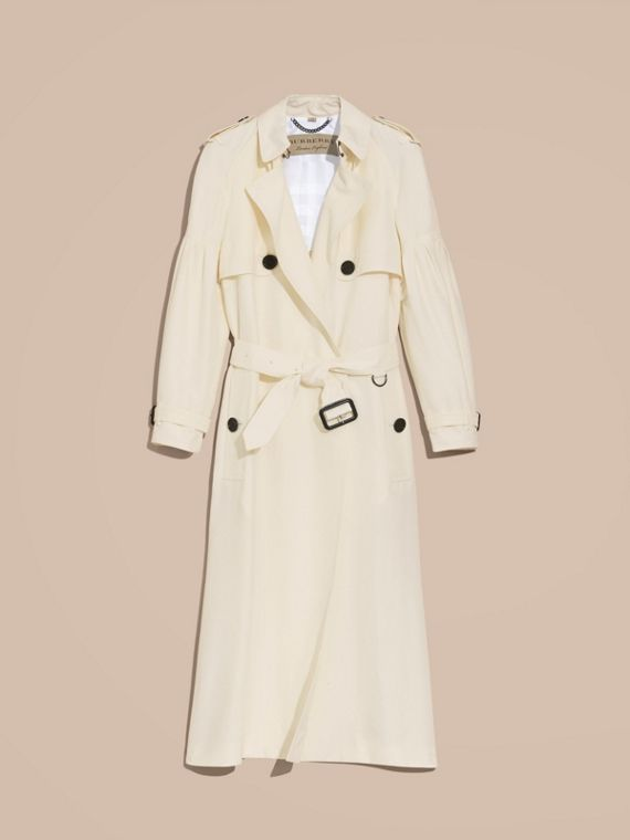 Oversize Silk Trench Coat with Puff Sleeves in Parchment - cell image 3