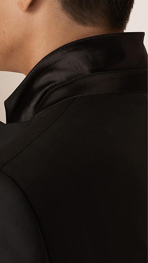 Noir Smoking de coupe moderne en laine et mohair - Image 6