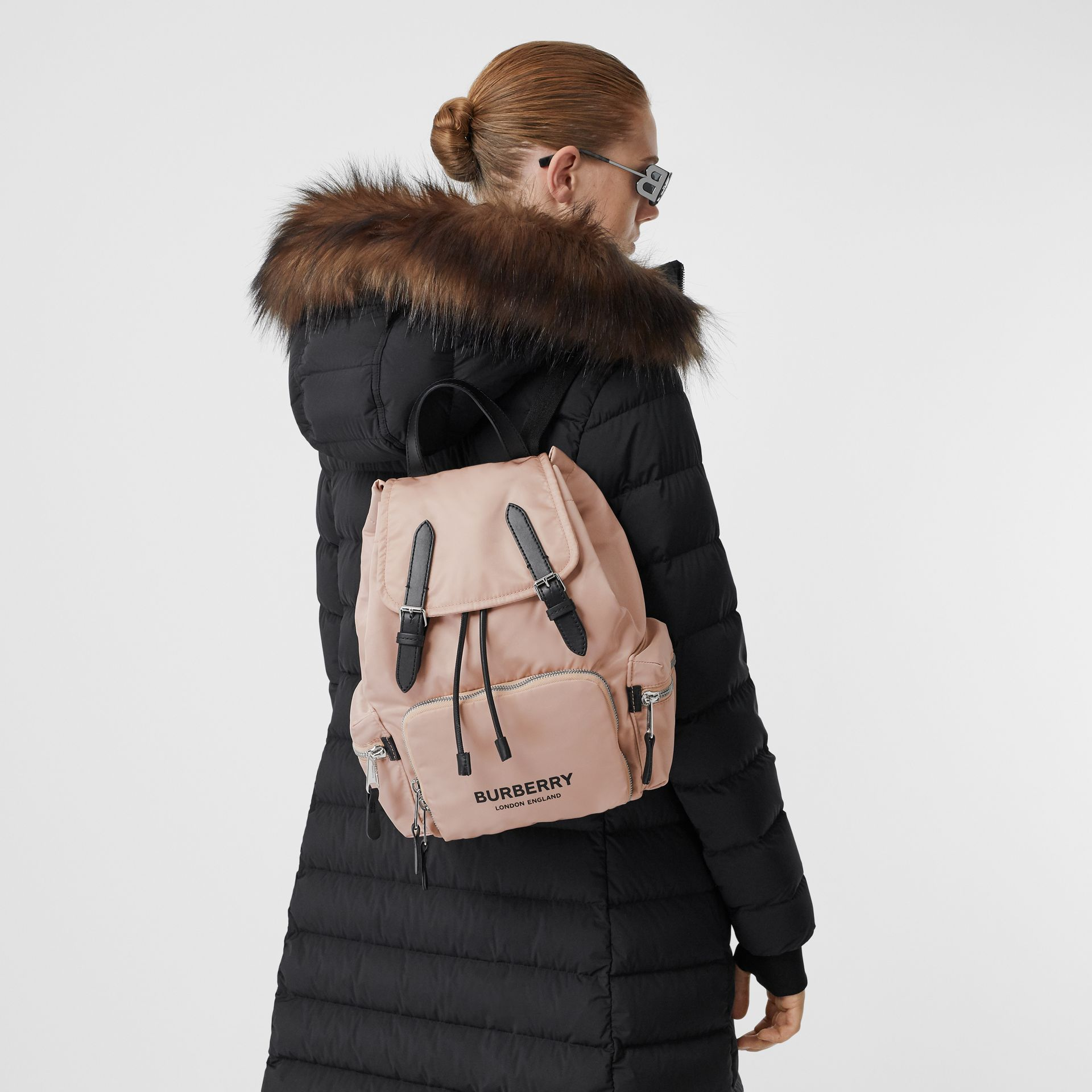 The Medium Rucksack in Logo Print ECONYL® in Rose Beige - Women | Burberry United Kingdom - gallery image 2