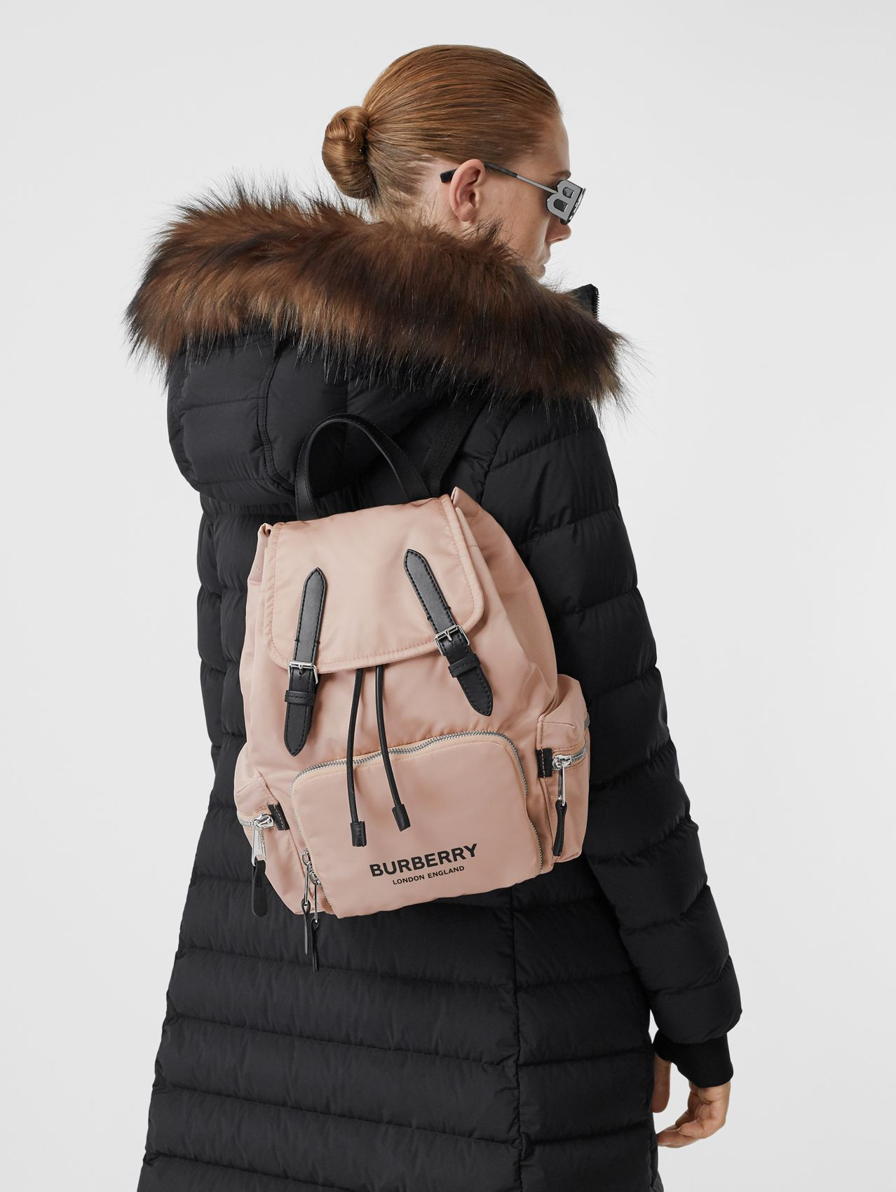 The Medium Rucksack in Logo Print ECONYL® in Rose Beige