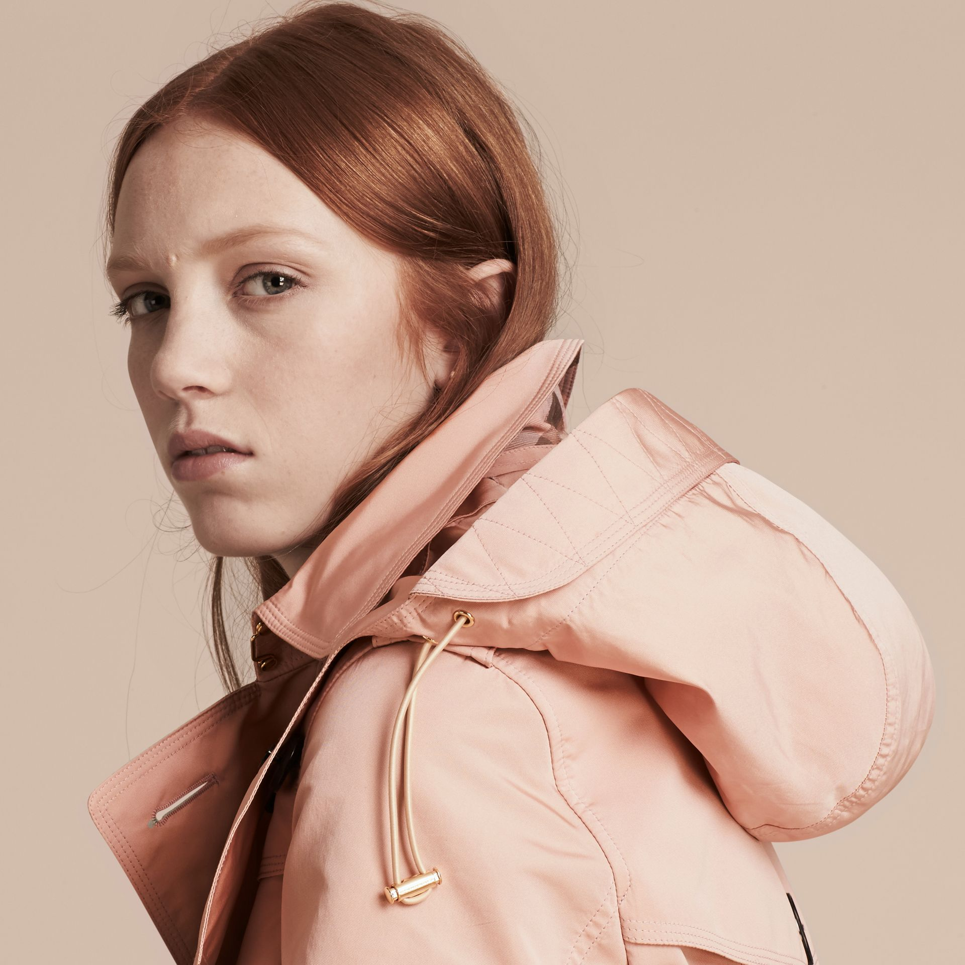 Chalk pink Showerproof Taffeta Trench Jacket with Detachable Hood Chalk Pink - gallery image 6