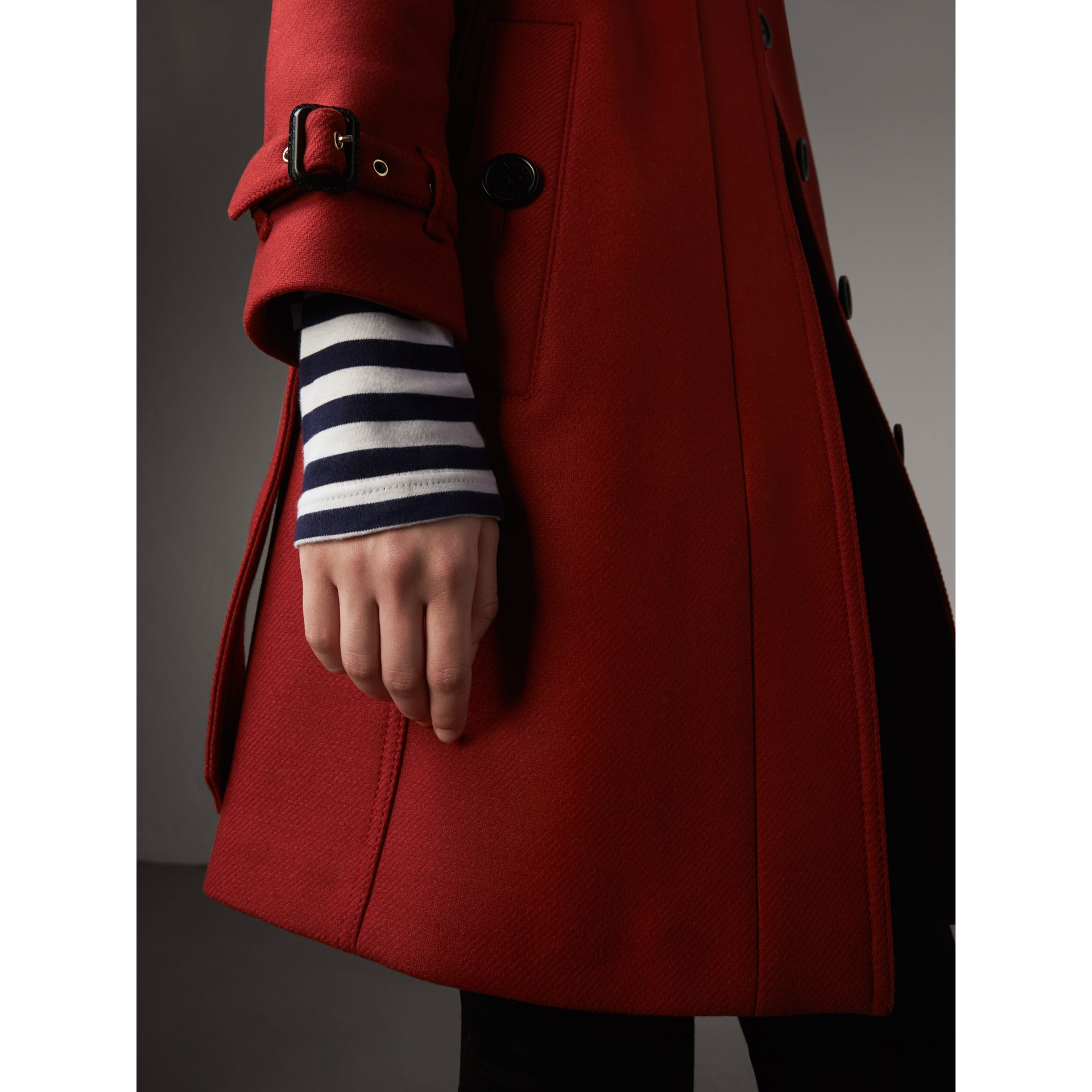 Technical Wool Cashmere Funnel Neck Coat in Damson Red - Women | Burberry - gallery image 5