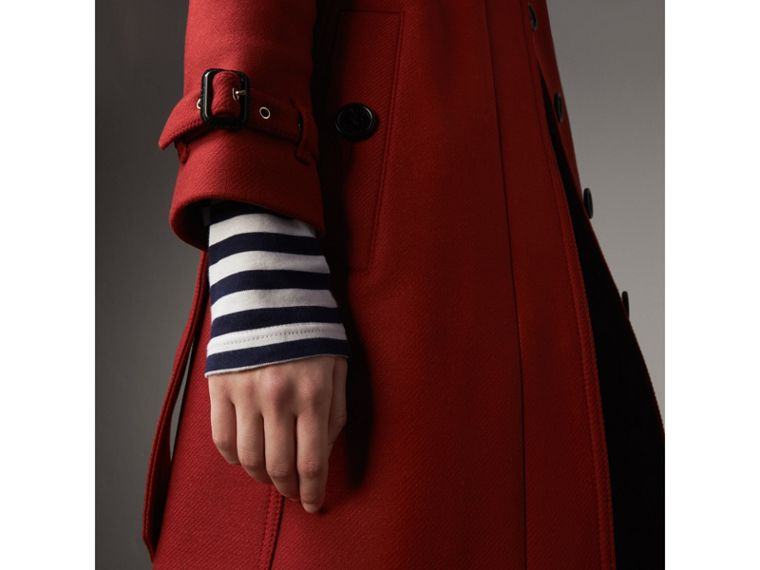 Technical Wool Cashmere Funnel Neck Coat in Damson Red - Women | Burberry - cell image 4