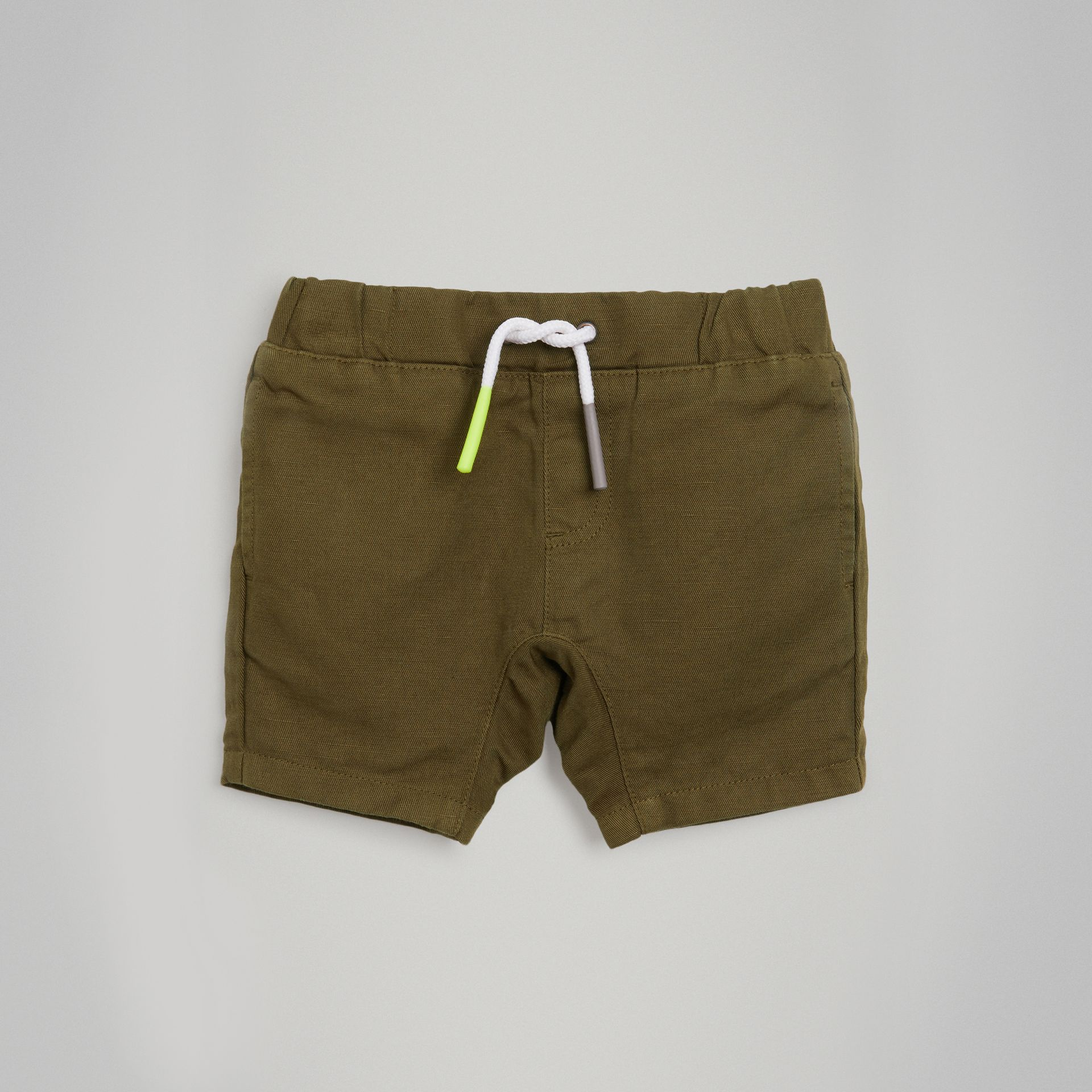 Drawcord Cotton Linen Twill Shorts in Olive | Burberry - gallery image 0