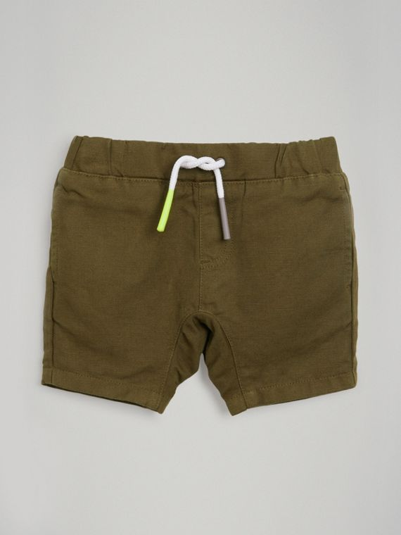 Drawcord Cotton Linen Twill Shorts in Olive
