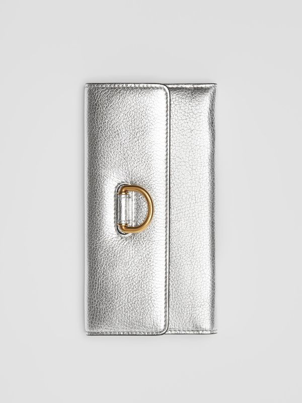 D-ring Metallic Leather Continental Wallet in Silver - Women | Burberry - cell image 2