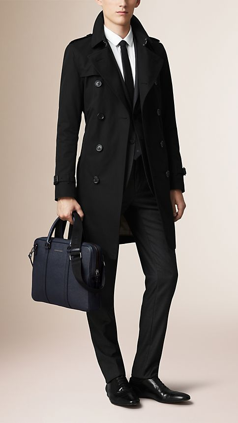 Navy London Leather Crossbody Briefcase Navy - Image 2